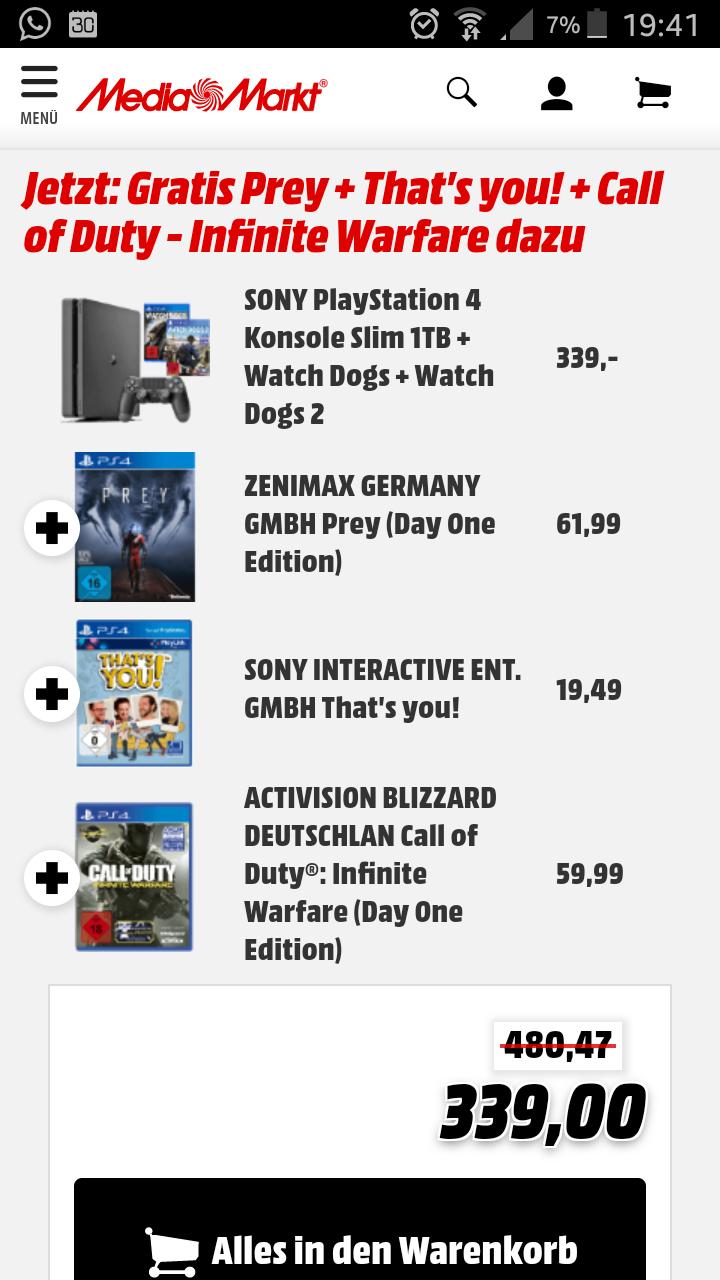 [Mediamarkt] SONY PlayStation 4 Konsole Slim 1TB mit 5 Spielen