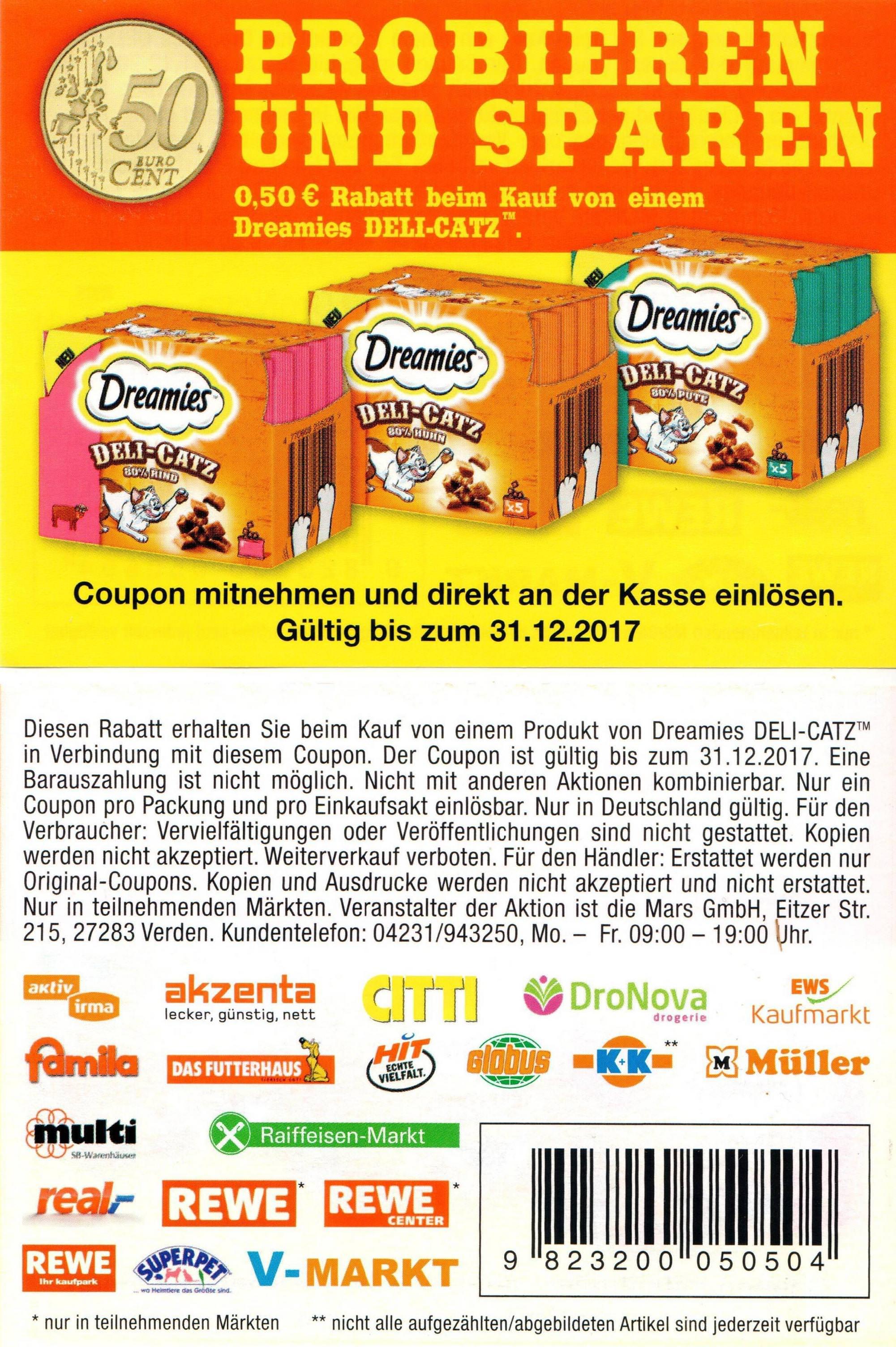 0,50€ Sofort-Rabatt-Coupon für eine Packung Dreamies Deli-Catz bis 31.12.2017 [bundesweit]