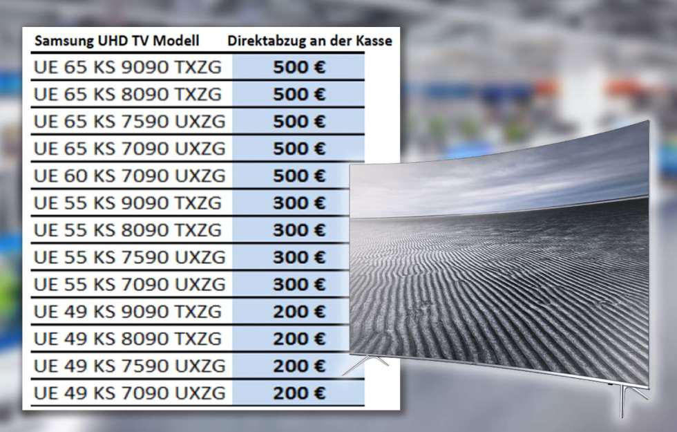 [Lokal] Saturn Chemnitz/Zwickau: bis zu 500 Euro Rabatt auf ausgewählte SAMSUNG UHD-TV's bis 31. Juli, z.B. SAMSUNG UE65KS7590 für 1.495 Euro