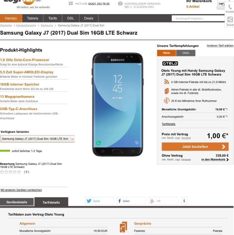 Samsung Galaxy J7 (2017) für 1€ + otelo Allnet-Flat M 2GB oder Young mit 4GB für 19,99€ mtl.