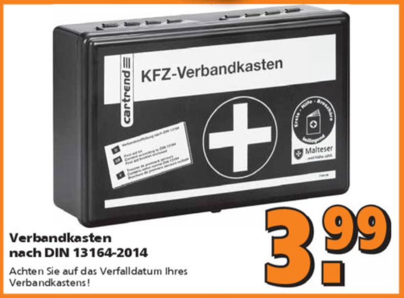 KFZ-Verbandkasten nach DIN 13164-2014 für 3,99 Euro [Globus Baumarkt]