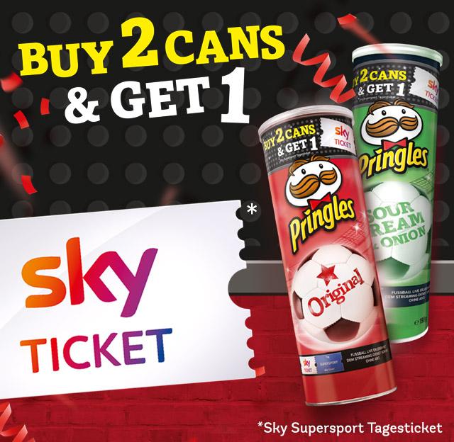 2 Pringles Aktionsdosen kaufen = 1 Sky Supersport Tagesticket für Neukunden gratis.
