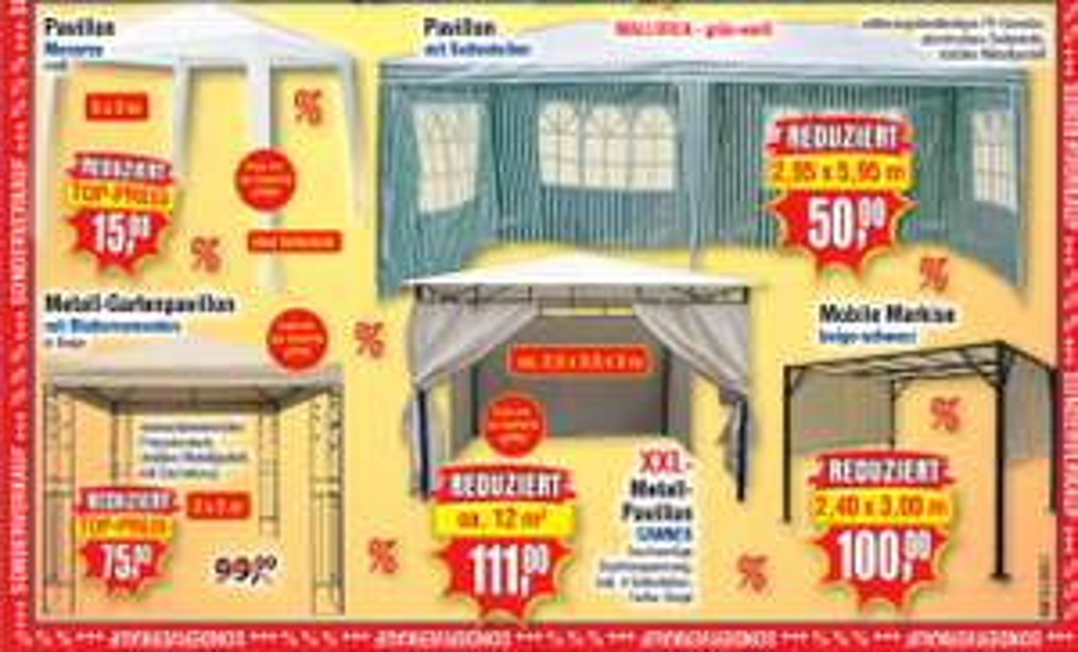 [Centershop] Pavillon Abverkauf ab 15€(3x3m) z.B. 3x6m mit Seitenteilen 50€ oder XXL Cannes 3,5x3,5m 111€