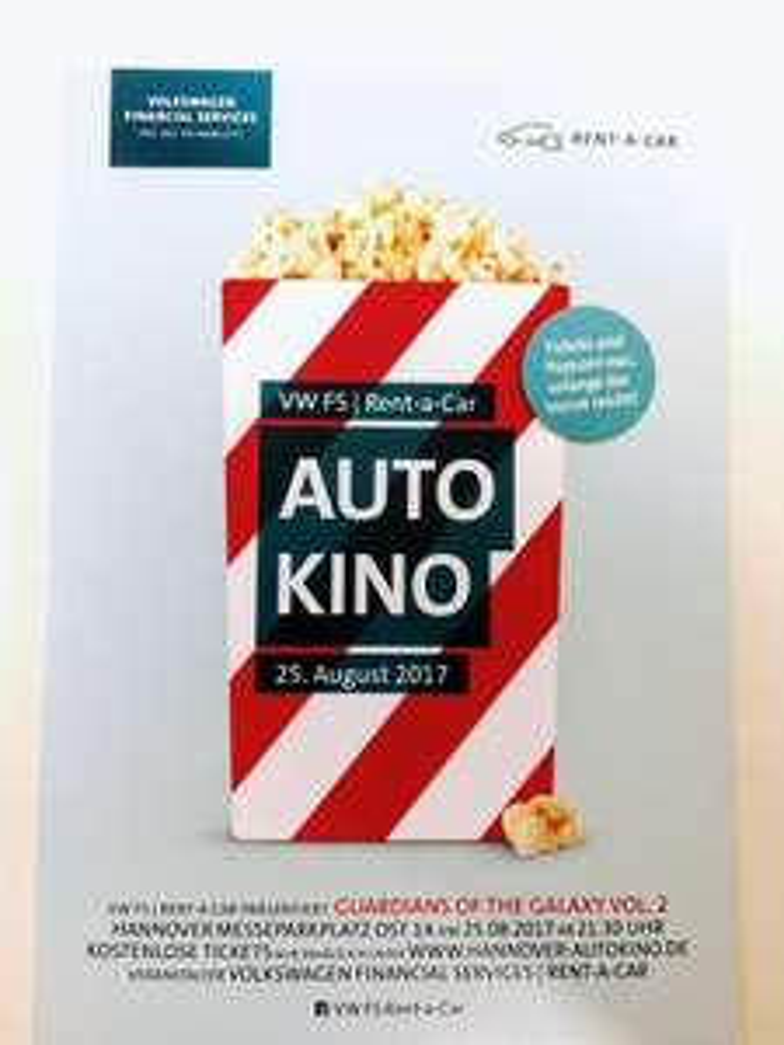 [Hannover] Autokino for free mit kostenlosem Popcorn und Guardians of the Galaxy 2 am 25.8.17