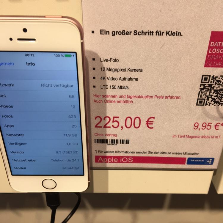 iPhone SE 16GB im Telekom Shop MTZ Frankfurt/Sulzbach