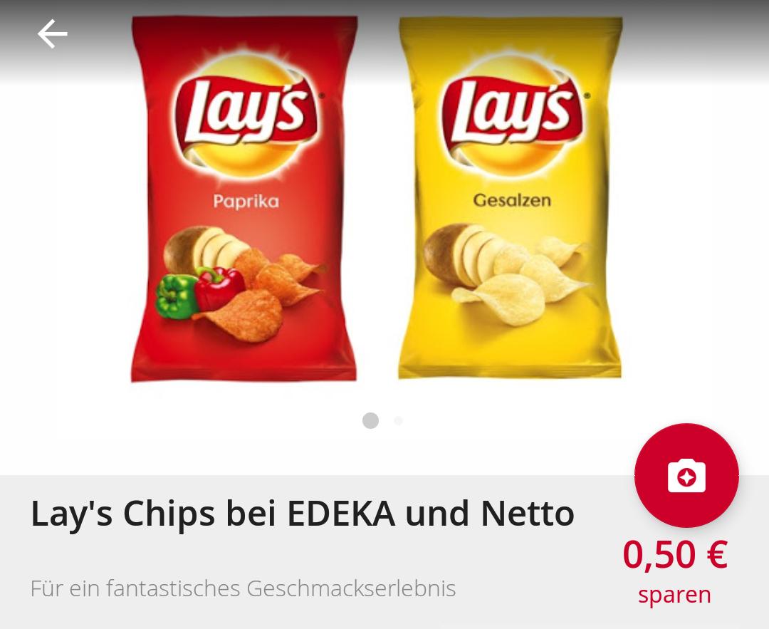 [Scondoo] Lays Chips 0,50 € Cashback erhalten bei Edeka und Netto