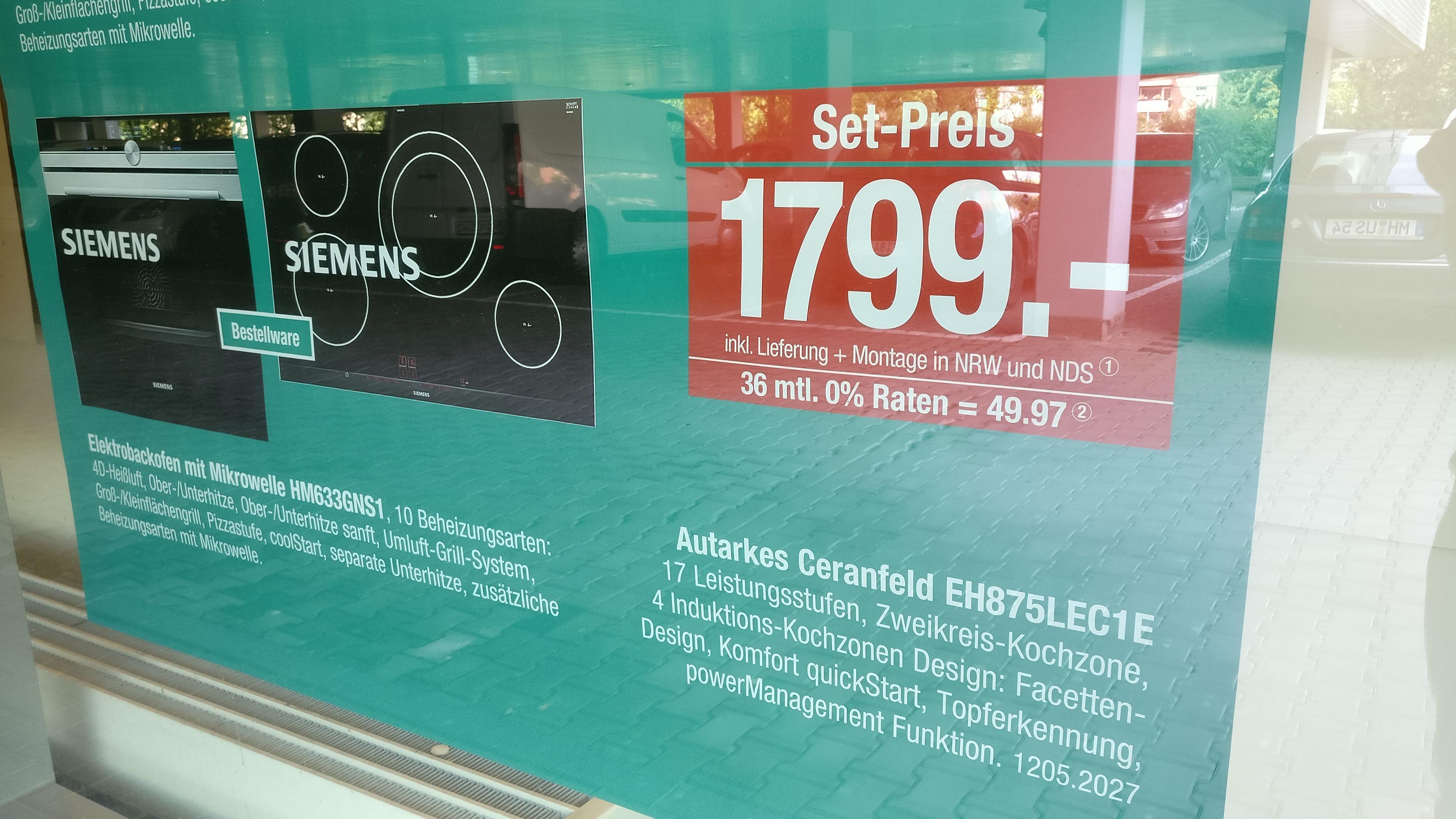 [Lokal Möbel Hardeck] Siemens Set: Induktions-Kochfeld (EH875LEC1E) & Backofen mit Mikrowelle (HM633GNS1)