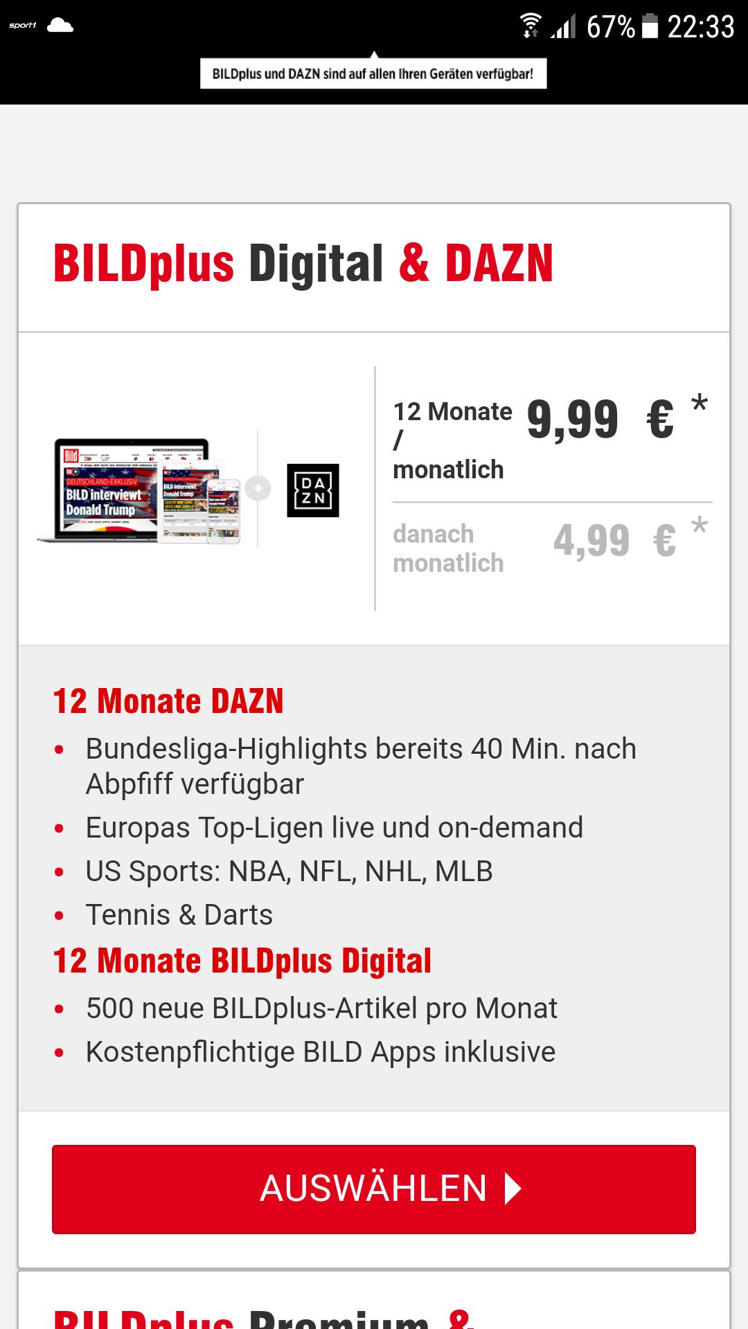 BILD Plus + DAZN für 9,99€/Monat für Bild Bestandskunden/ ehemalige Kunden