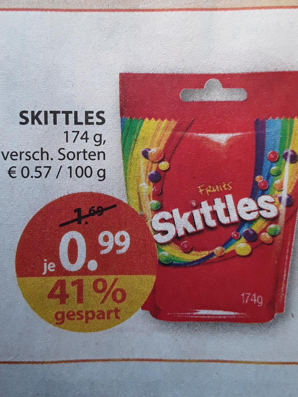 SKITTLES, 174 g Packung, versch. Sorten für 0,99 € ( effektiv 0.96 € ) ab 31.7.17 @ Müller (offline)