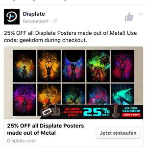 25% Rabatt auf alle Metall Poster [Displate]