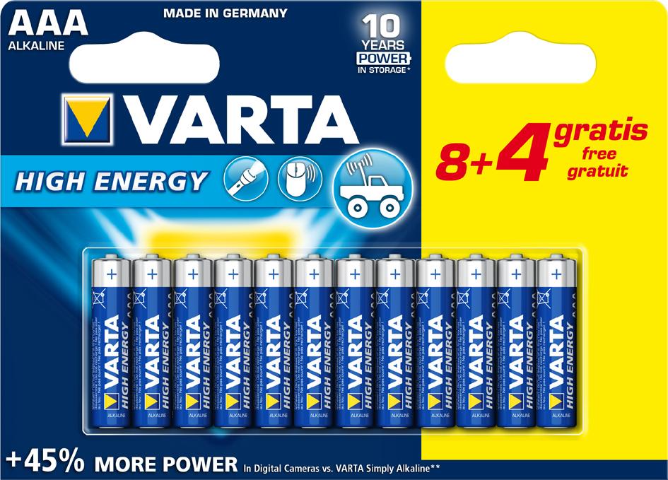 Varta 1,5 Volt Batterien 12 Stück (8+4 Gratis) AAA oder AA,  die Packung für 1,48 Euro [Thomas Philipps]