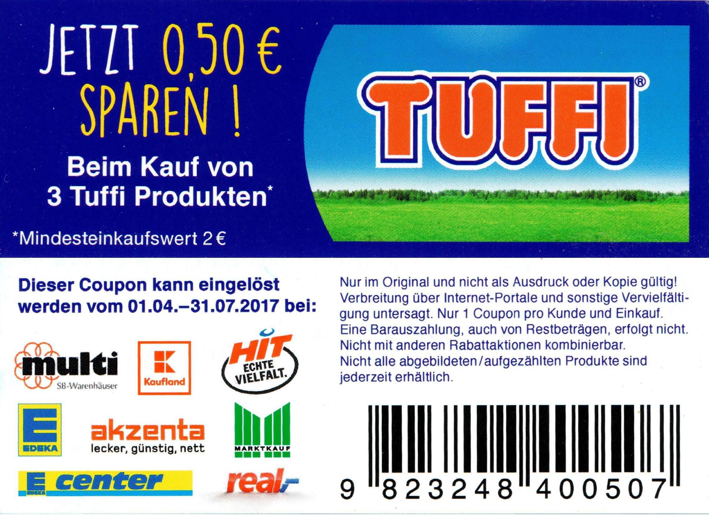 0,50€ Sofort-Rabatt-Coupon für 3 TUFFI Produkte bis 31.07.2017 [bundesweit]