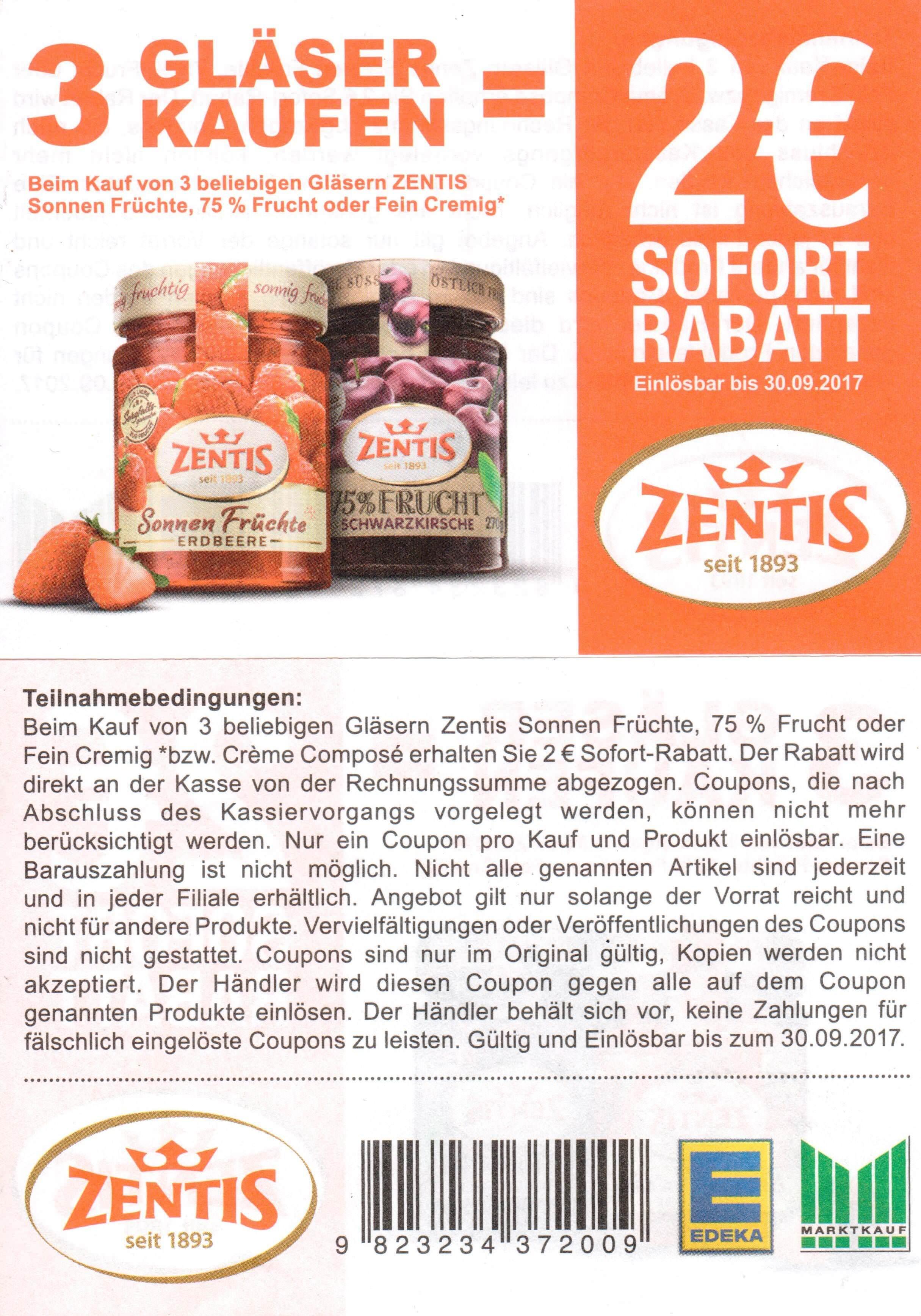 2,00€ Sofort-Rabatt-Coupon für 3 Gläser Zentis Sonnenfrüchte, 75% oder Fein Cremig bis 30.09.2017 [Marktkauf+Edeka]