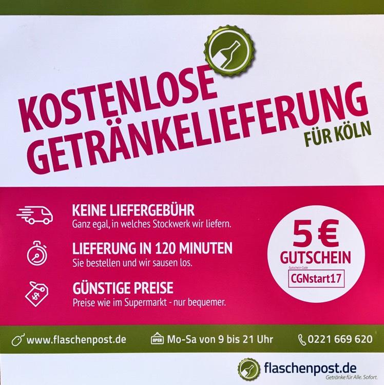 [LOKAL][KÖLN] 5€ Gutschein(25€ MBW) bei flaschenpost.de, Getränkelieferservice (+10 Kölsch für 1€)