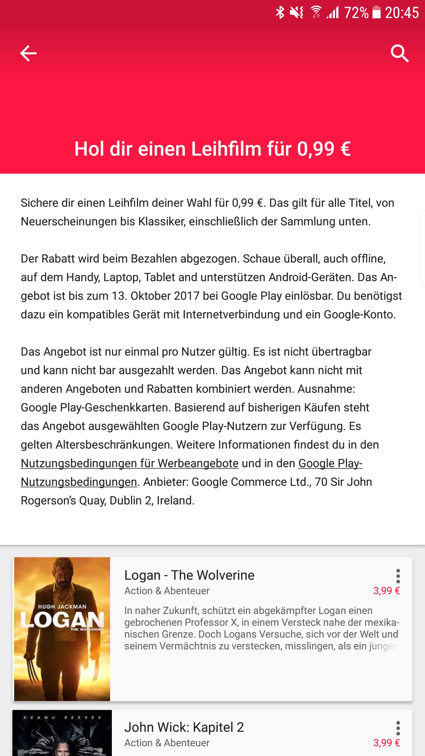 [Google Play] Leihfilm für 99 Cent bzw. 1,49€ statt 4,99€