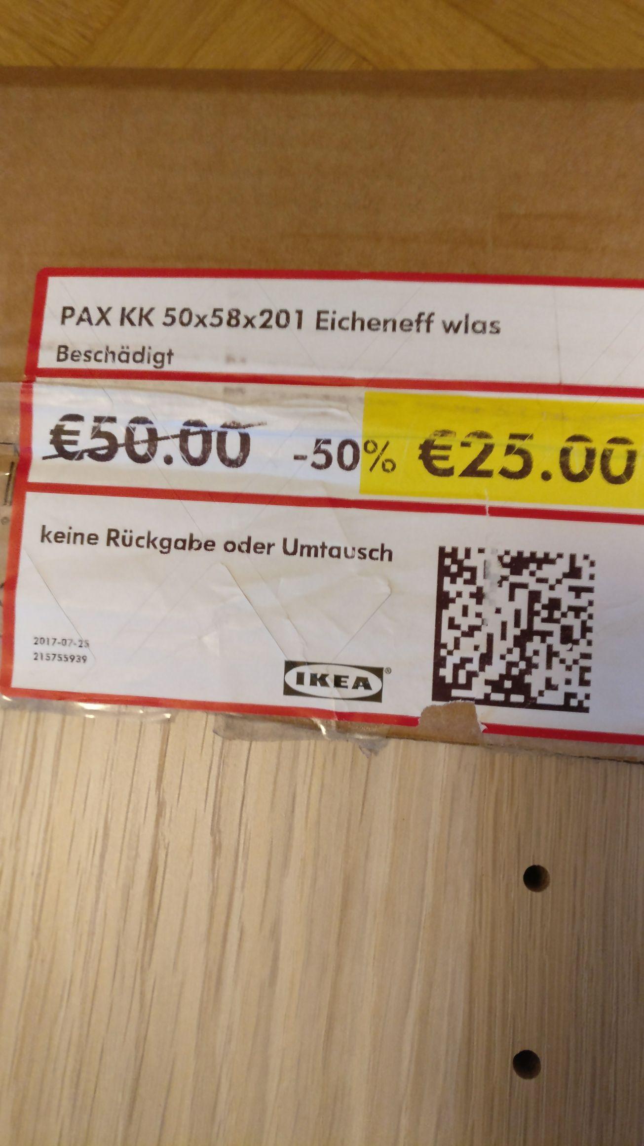 [LOKAL] IKEA Ludwigsburg - Pax 50er Korpus weiss oder Eiche weiss lasiert 201x50x58cm (HxBxT) für 50% bzw. 25 Euro (Hantierungsschaden)
