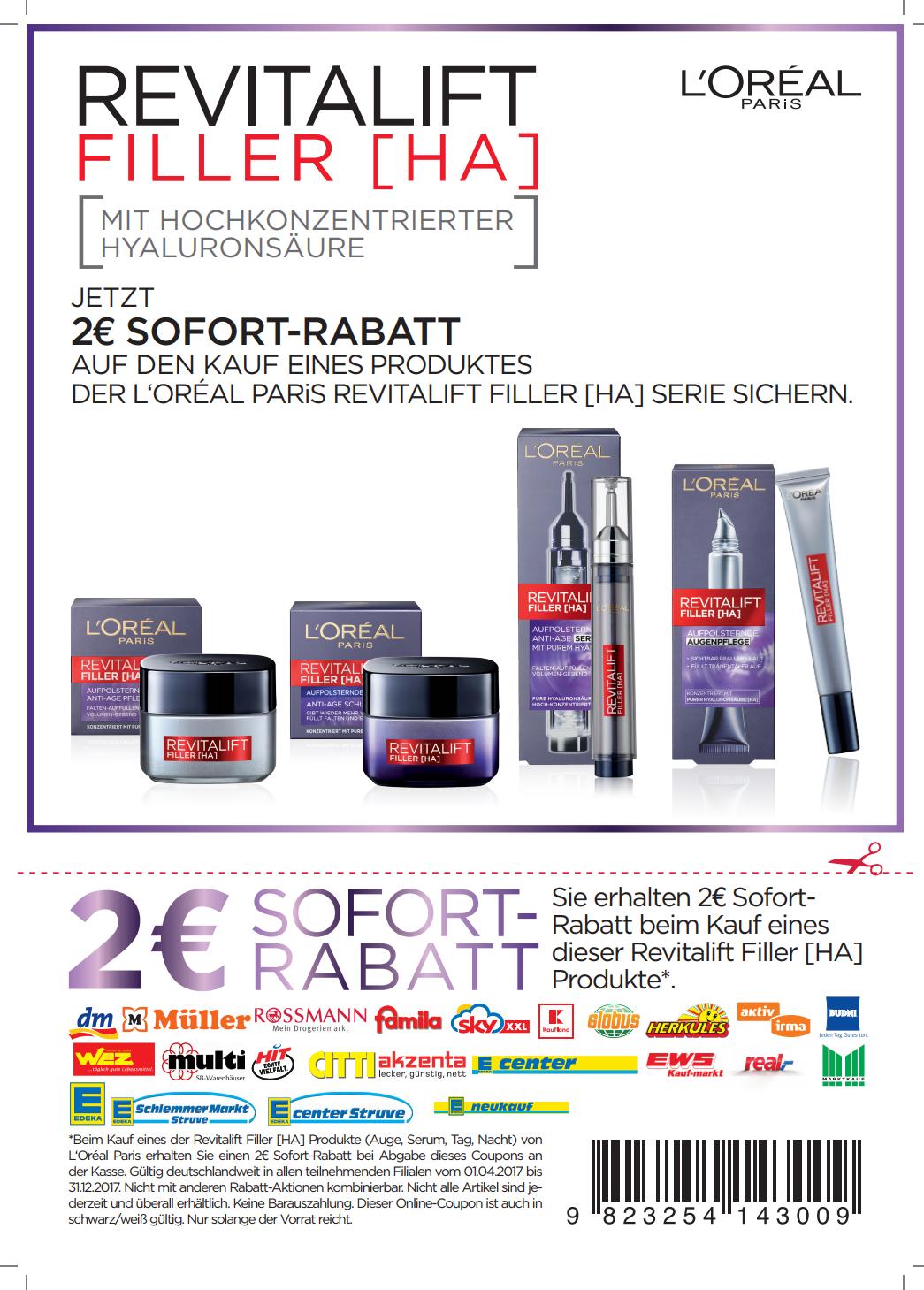 2,00€ Sofort-Rabatt-Coupon für L'Oréal Revitalift Filler [HA] in PDF zum Ausdrucken bis  31.12.2017 [bundesweit]