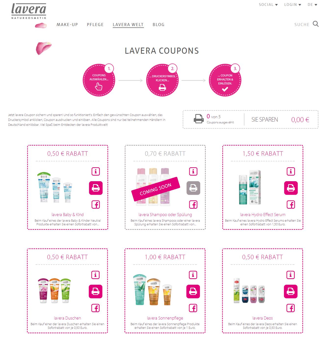 5 neue Lavera Coupons (0,50€-1,50€) zum Ausdrucken bis 31.07./31.08./30.09.2017 [bundesweit] + coming soon