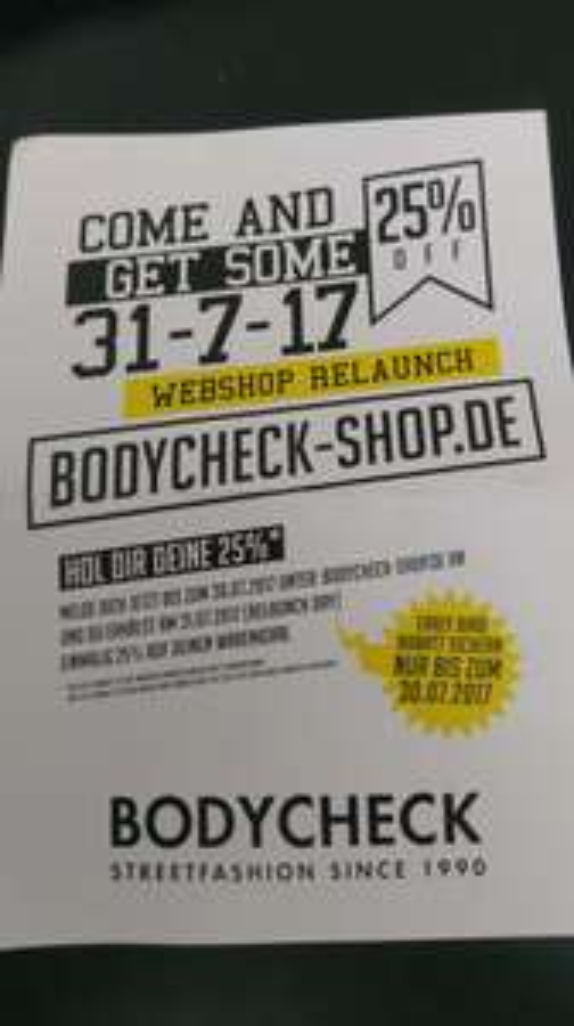 25% Rabatt im neuen Bodycheck Shop