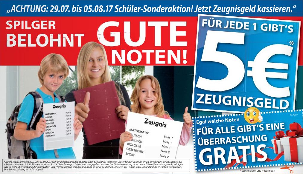 [Lokal] Wohn-Center Spilger Obernburg vergibt 5 Euro Zeugnisgeld für jede 1