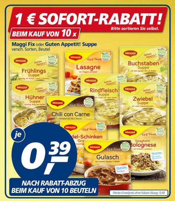 "10x Maggi ""fix & frisch"" oder ""Guten Appetit"" Suppen für 0,24€/Stück (Angebot+Rabatt+Coupon) bei Real ab 01.08.2017"
