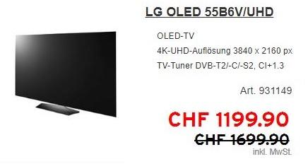 LG OLED 55B6V/UHD für 1052€  und LG 65C6V/OLED für 1826€        ( Interdiscount.ch / Schweiz)