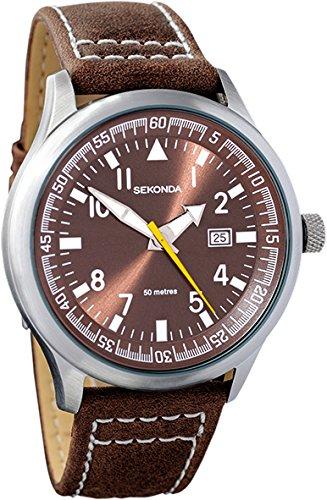 Sekonda 3882 Herren Armbanduhr mit Quarzuhrwerk, braunem Lederband, Mineralglas und Datumsanzeige für 22€ inkl. Versand (Amazon.co.uk)