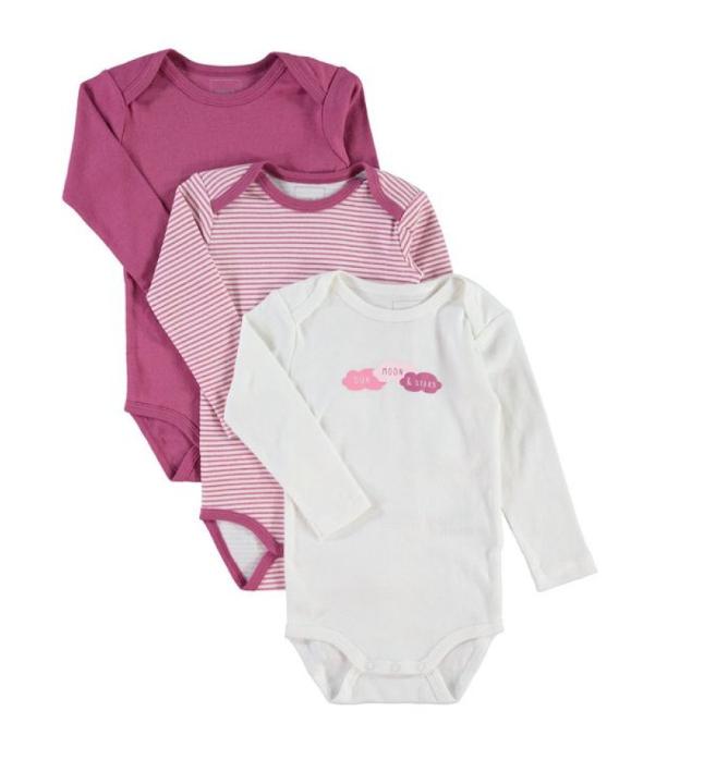 """3x Baby Bodies von """"NAME IT"""" aus 100% Baumwolle in 9 Farbkombis für 6,49€ +VSK statt 12,95€"""