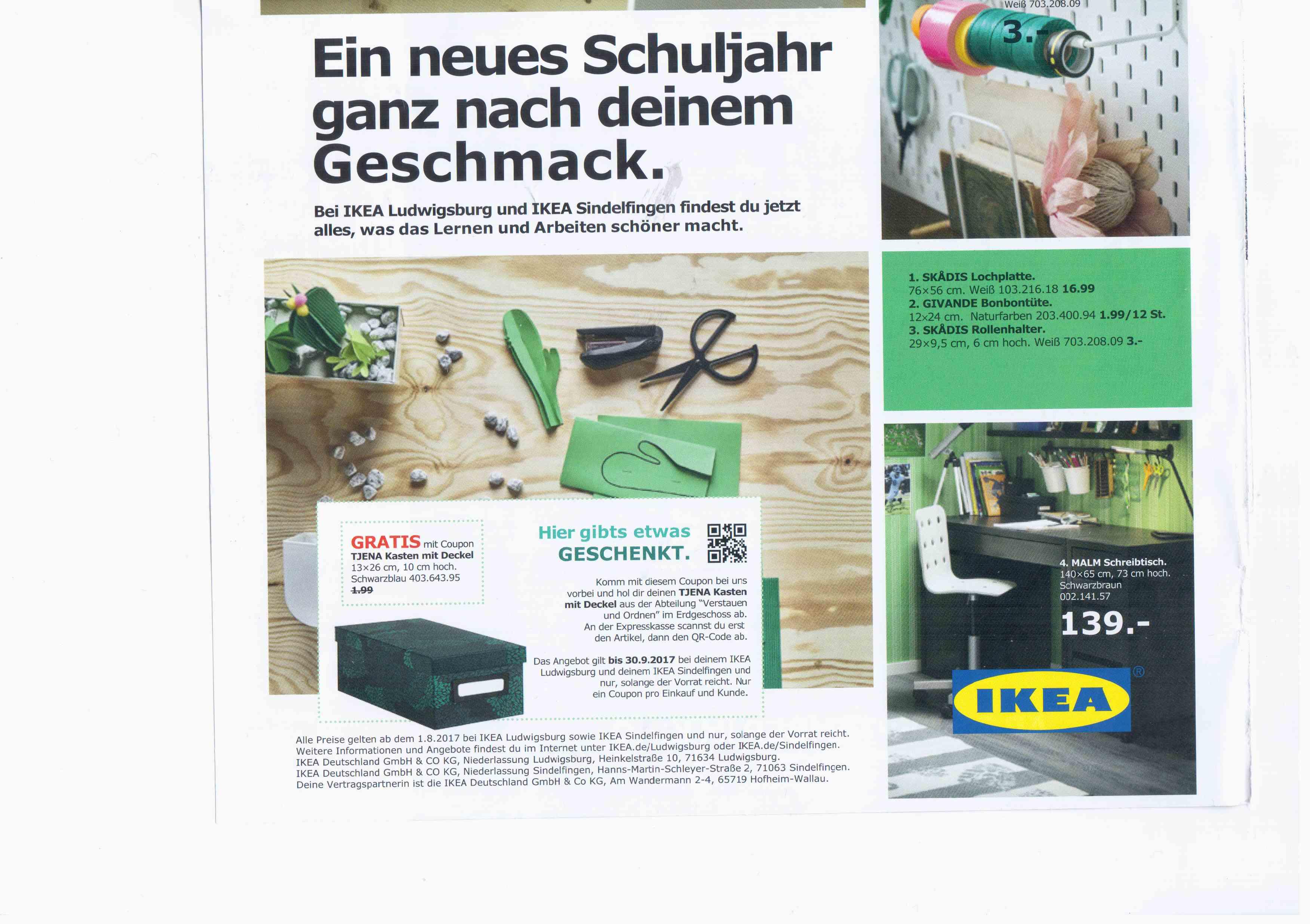 [Lokal] IKEA Ludwigsburg & Sindelfingen - Gratis TJENA Kasten mit Deckel