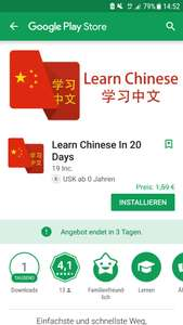 [Android] Learn Chinese in 20 Days für 0€ statt 1.59€