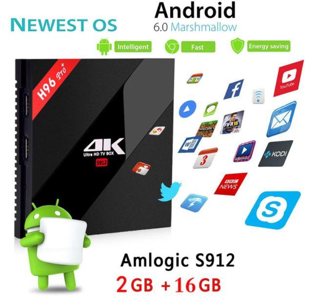 TV Box H96 PRO Plus Android 7.1 TV Box Amlogic S912 Octa Core 3G/32G dual wifi Gigabit 1000LAN BT4.1 HD 4K Media Player