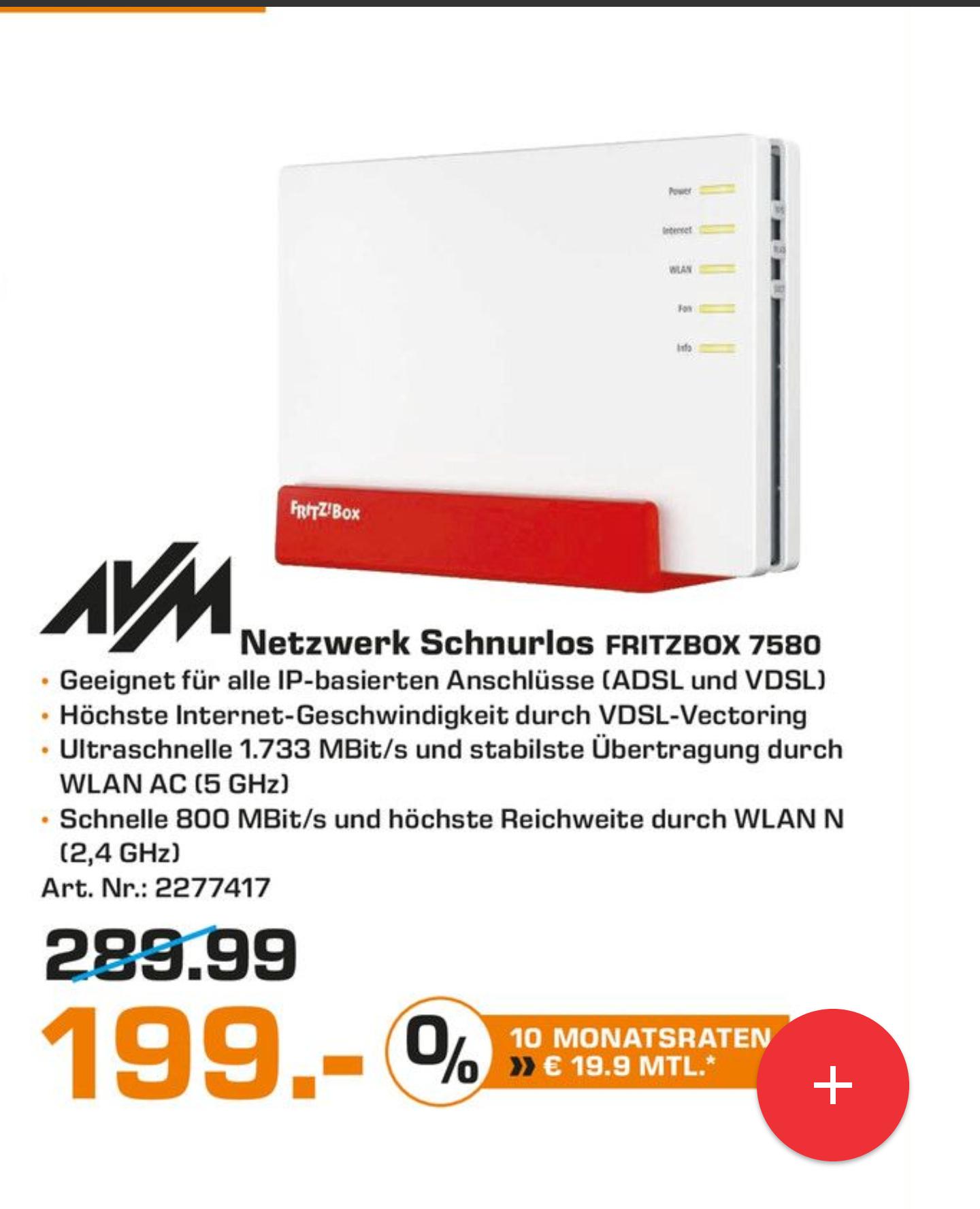 [Lokal - Saturn Dortmund Eving] Fritzbox 7580 für 199€