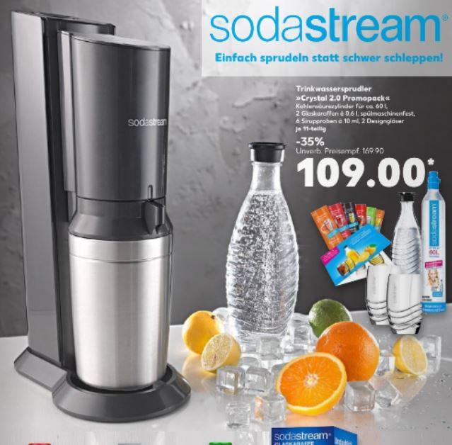 Sodastream Promopack Crystal 2.0 für 109 € @ Kaufland incl. 2 Glaskaraffen, 6 Sirup, 2 Designergläser (Preisvgl. 119 €)
