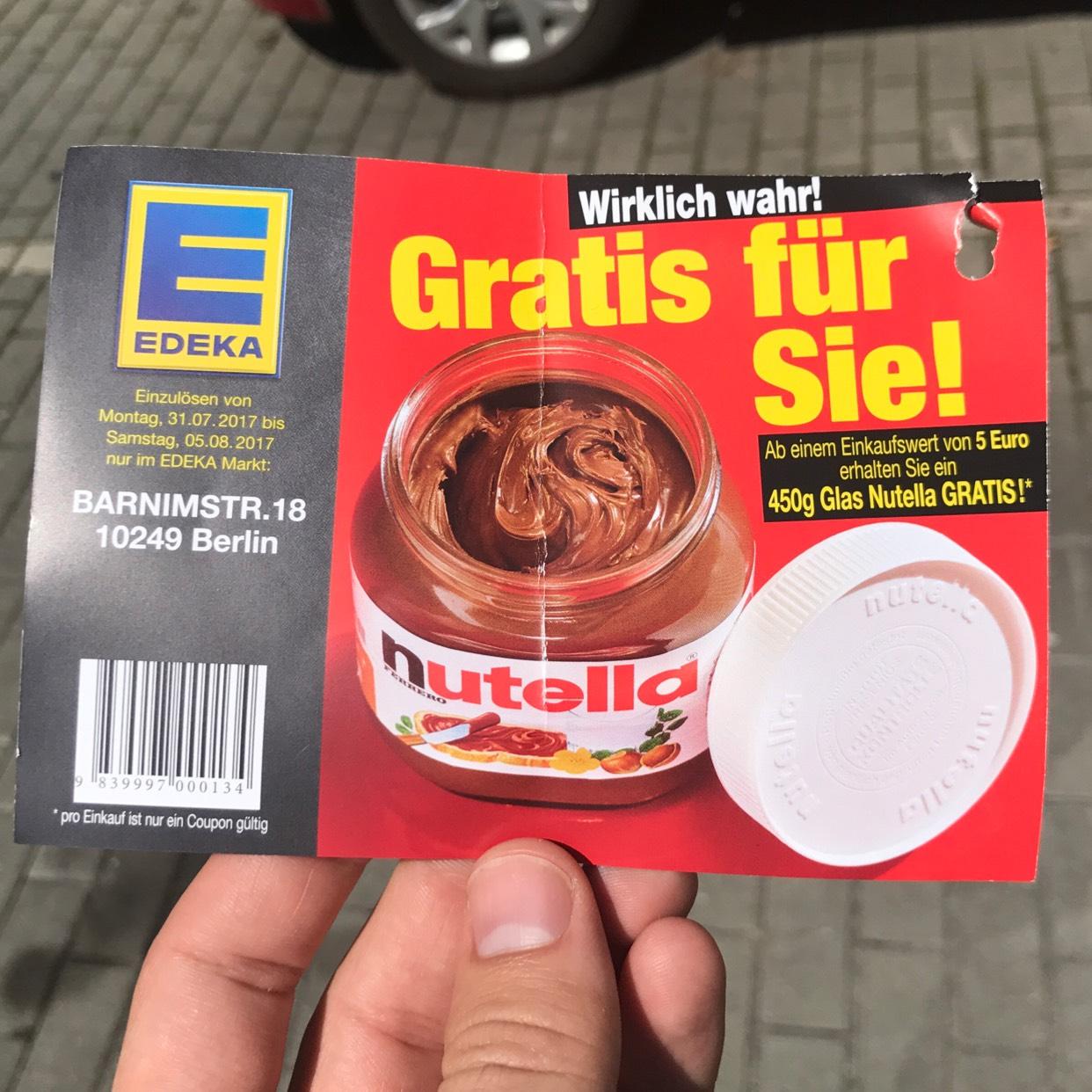 Gratis 450g Nutellaglas ab einem Einkaufswert von 5€ (LOKAL Edeka Berlin Barnimstr. 18)