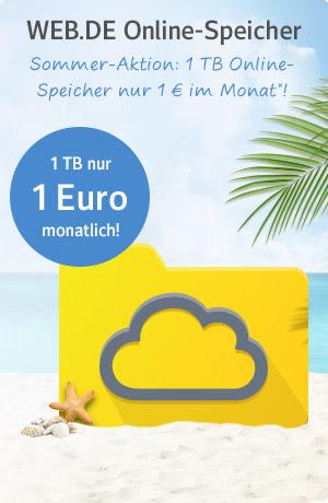 1 TeraByte (1024 GB) Web.de Onlinespeicher für 1 Euro pro Monat