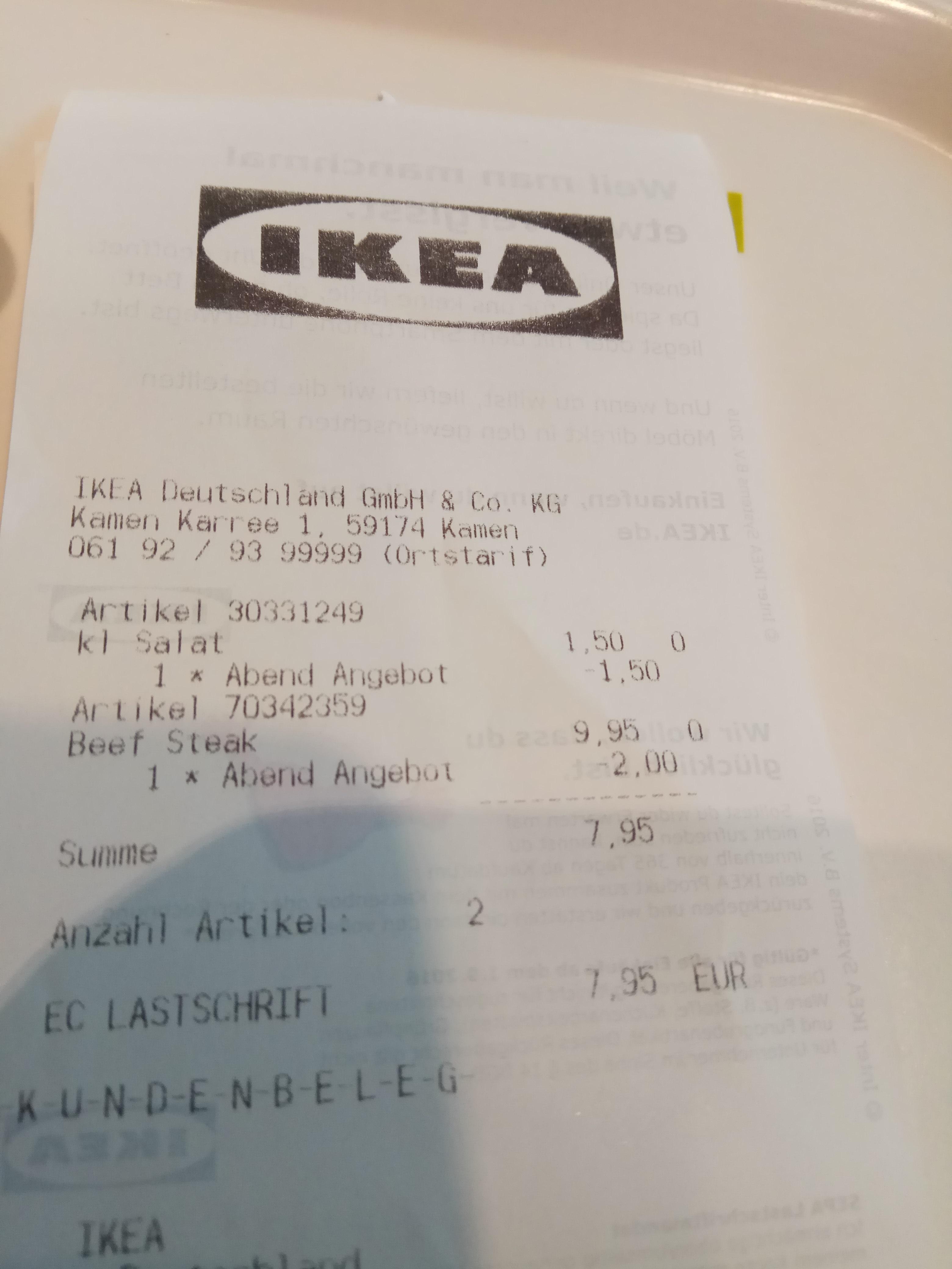 Beefsteak bei Ikea Kamen für 7,95