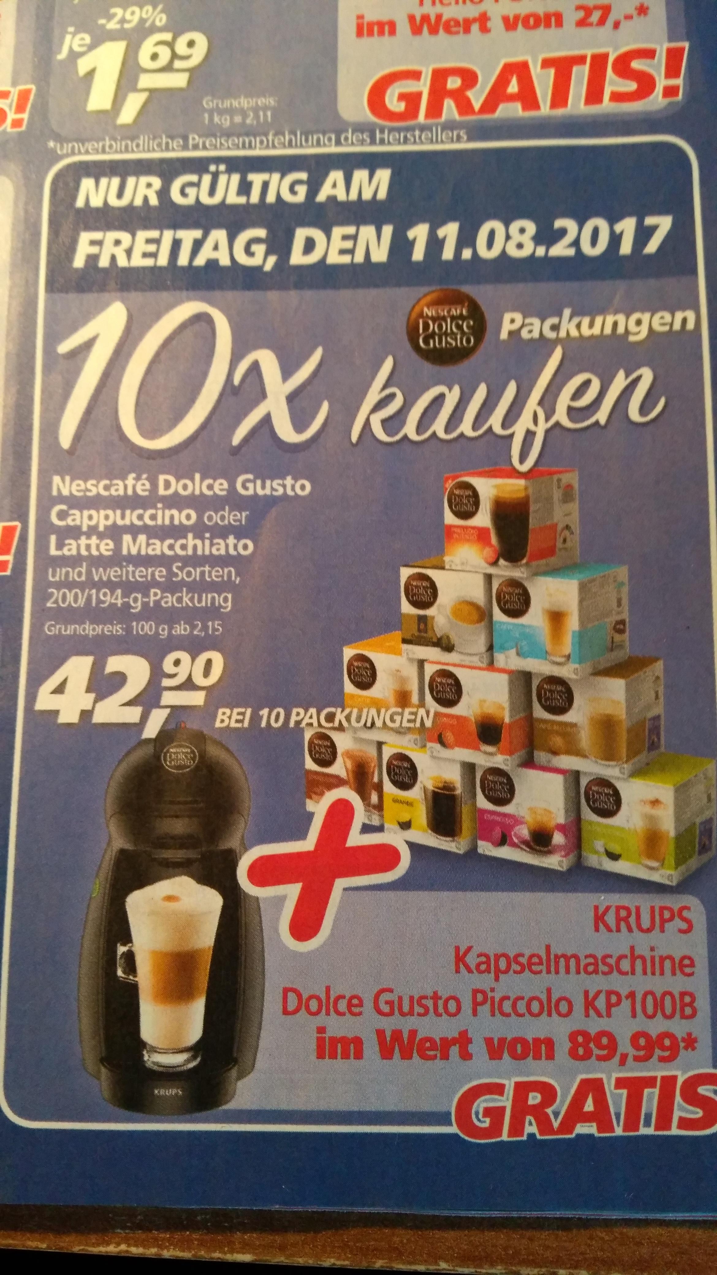 [,real bundesweit] 10x Nescafe Dolce Gusto Kapseln kaufen und Krups Piccolo KP100B gratis dazu bekommen!
