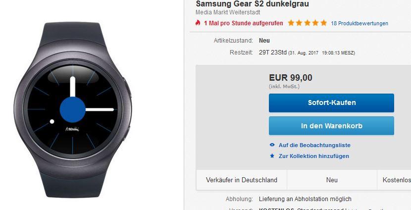 Samsung Gear S2 - Ebay - MM Weiterstadt - lokal ? - 99 Euro inkl. Versand