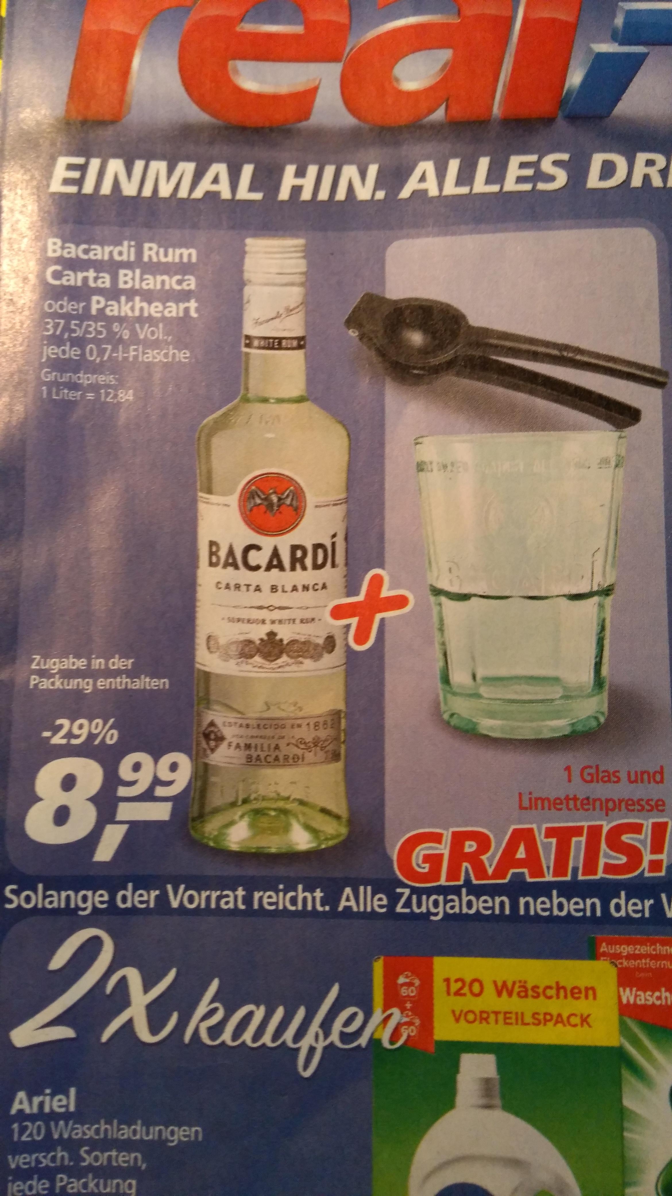 [,-real bundesweit] Bacardi Rum + Gratis Glas und Limettenpresse für 8,99€