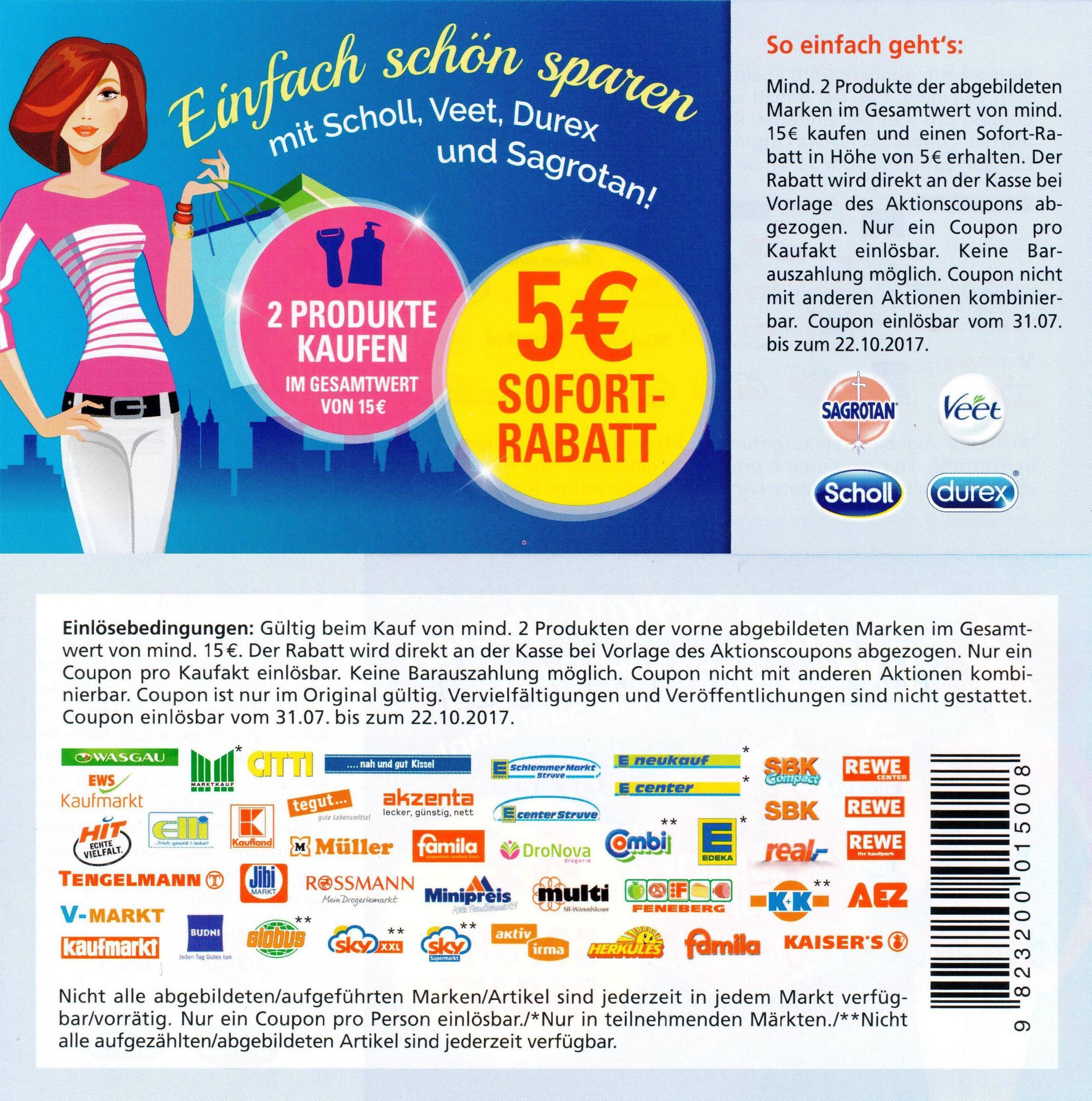 5,00€ Sofort-Rabatt-Coupon für 2 Produkte der Marken Durex / Sagrotan / Scholl / Veet im Wert von 15,00€ bis 22.10.2017 [bundesweit]