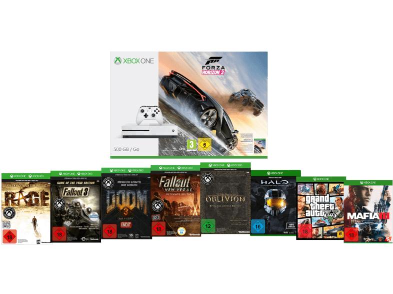MICROSOFT Sparket: Xbox One S 500 GB inkl. 9 Spiele für 299€ / Gönn-Dir-Dienstag bei Media Markt