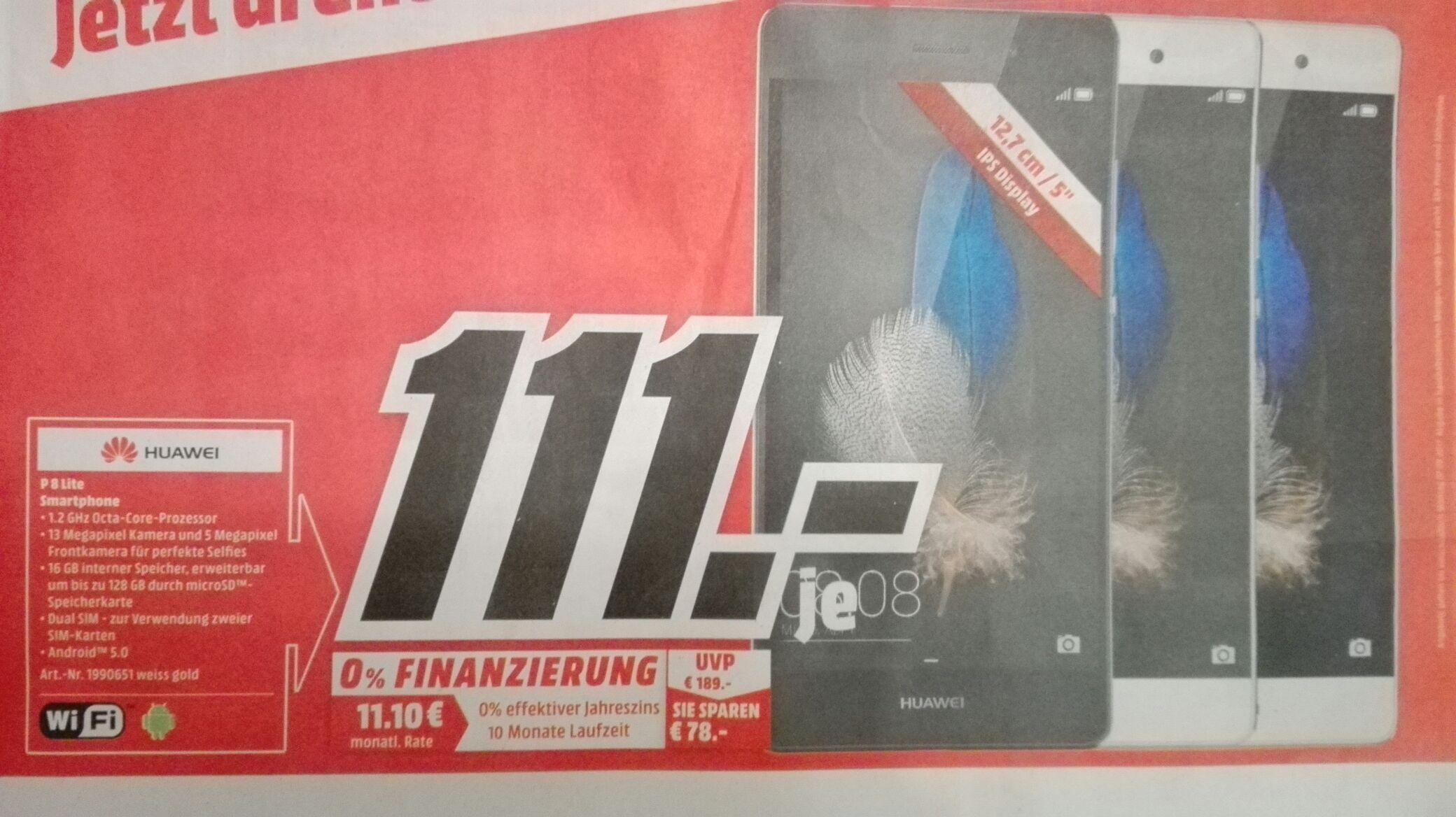 [Lokal Media Markt Eislingen] Huawei P8 Lite in Schwarz,Weiß oder Gold im Angebot für 111€