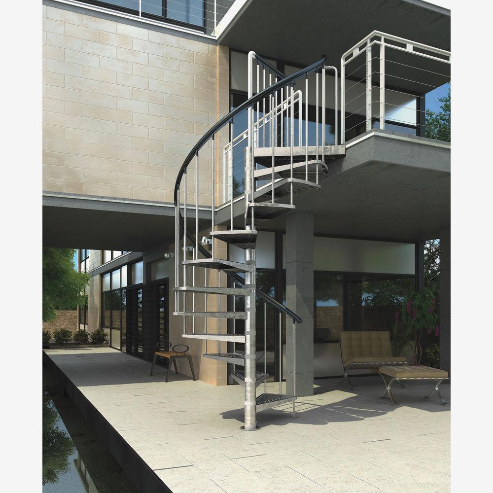 """Außentreppe """"Gardenspin"""" links/rechts gewendelt feuerverzinkt 125 cm 779€ (TPG 685,525€)"""