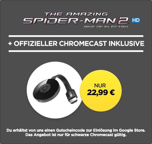 Google Chromecast 2 in schwarz und dazu noch den HD Stream The Amazing Spider-Man 2 (Rakuten.tv)