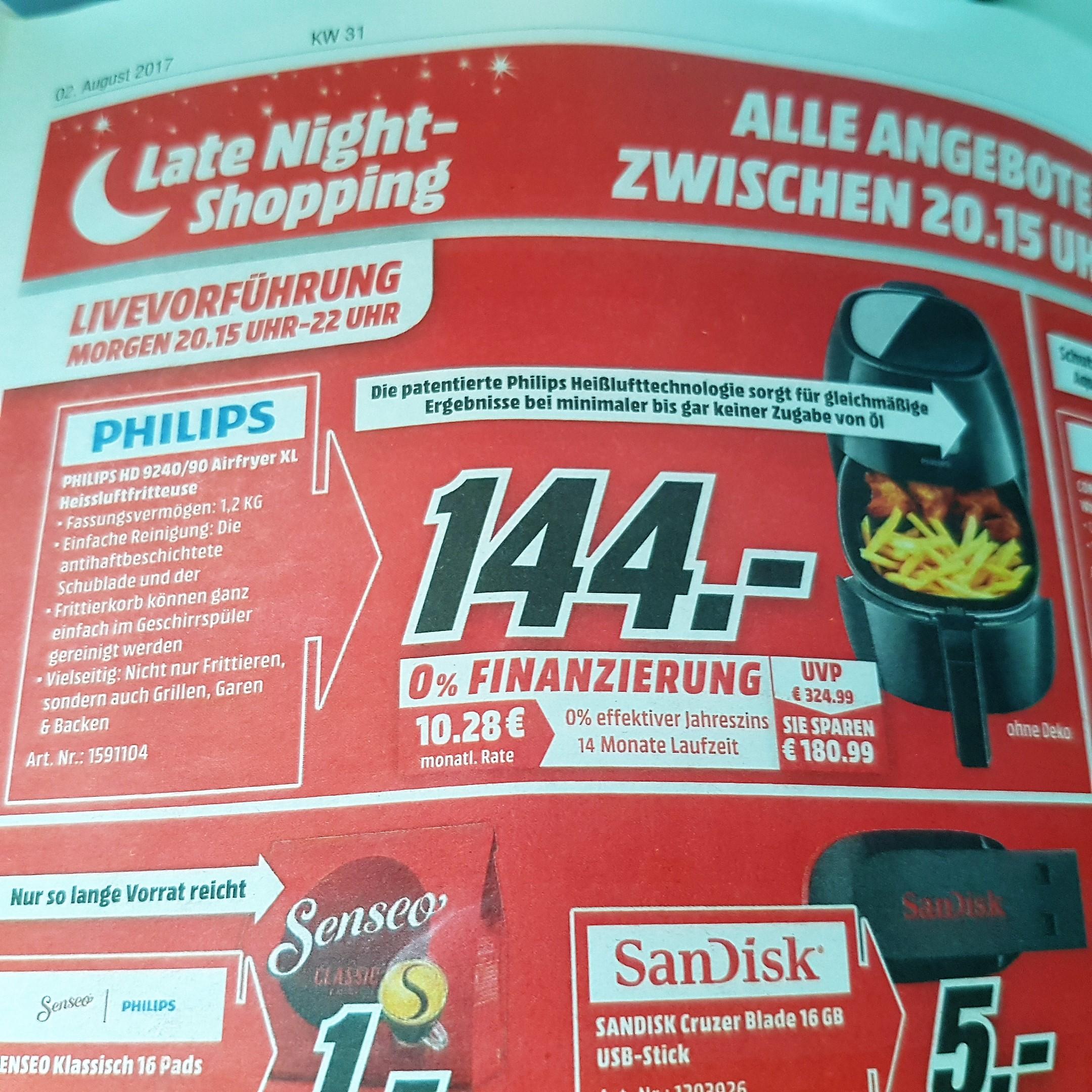 (Lokal Eschweiler MediaMarkt) Philips HD9240/90 Airfryer XL für 144€, Für Clubmitglieder(und die, die werden möchten) PVG 183,99€