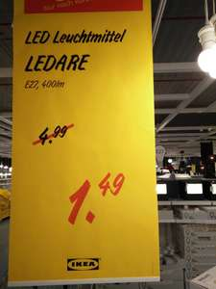 "Lokal Ludwigsburg IKEA  LED Leuchtmittel ""Ledare"" 6,3 W E27 400 lm"