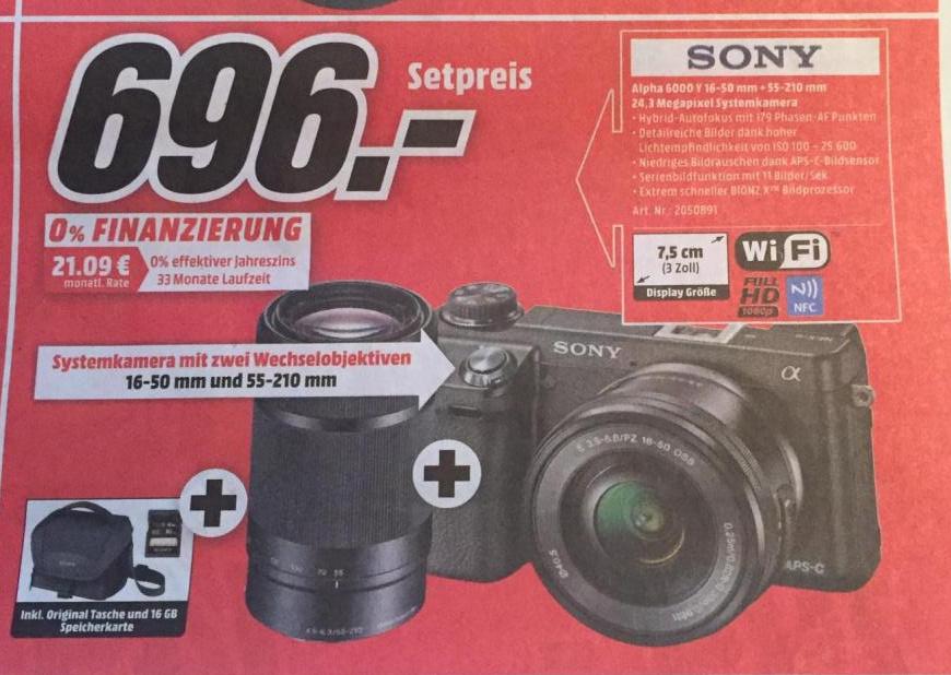 [Media Markt Stuttgart und Umgebung] Sony Alpha 6000 mit 16-50mm und 55-210mm + Tasche + SD-Karte