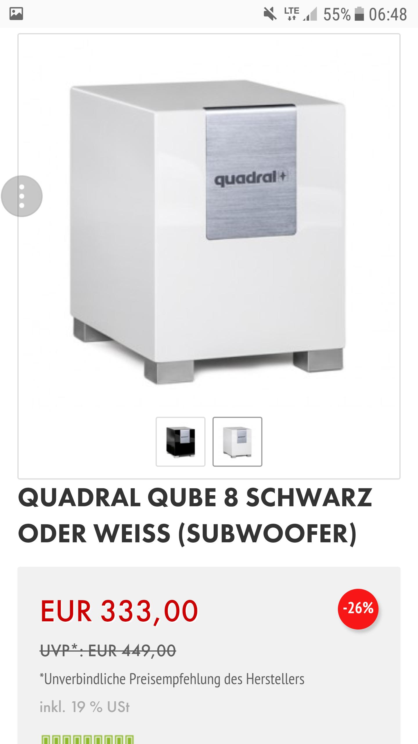 [Lokal Ludwigshafen] Quadral Qube 8 Aktiv schwarz / weiß