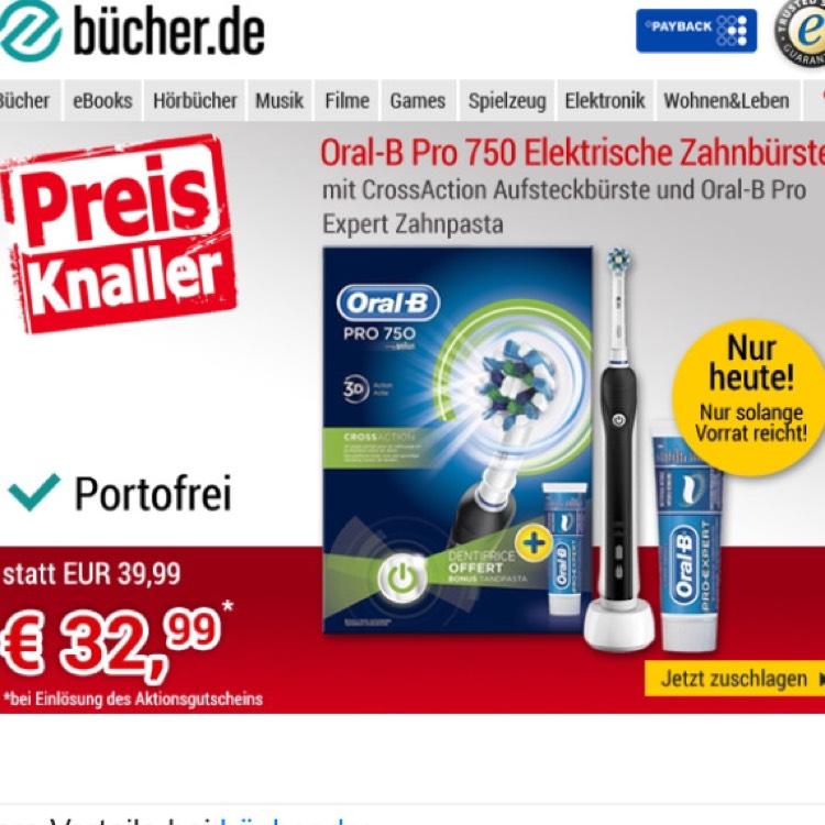 Oral B 750 Pro für 32,99€ Versandkostenfrei bei Bücher.de