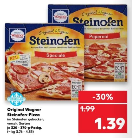 [Kaufland bundesweit ab 10.08] Original Wagner Steinofenpizza - versch. Sorten - für 1,39 €